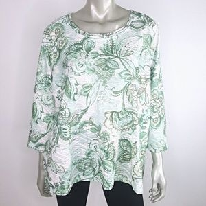Plus Size 1X Green Textured 3/4 Sleeve Stretch Top